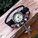 Женская Ретро Высокое качество Пентаграмма Кожа Кварцевые часы движение браслет