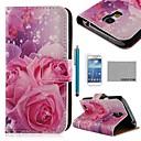 COCO FUN Розовые розы Шелковый Pattern PU кожаный чехол с Protecter экрана и стилуса для Samsung Galaxy S4 Mini i9190