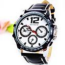 Мужская Круглый циферблат с тремя глазами Шестиигольные PU Группа Кварцевые Мода Watch (разных цветов)