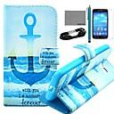 COCO FUN якорь в море шаблон PU кожаный чехол с кино и USB-кабель и стилус для Samsung Galaxy Core LTE G386F