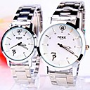 Пары Круглый циферблат стальной лентой кварцевые Мода часы (разных цветов)