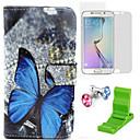 Цветные бабочки шаблон PU кожаный чехол с экрана протектор станет и Dust Разъем для Samsung Galaxy S6