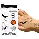 2шт Хэллоуин татуировки с черепом / Водонепроницаемый Временные татуировки боди-арта наклейка