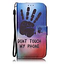 Black Hand Print Painted PU Leather Material of the Card Holder Phone Case for iPhone 7 7plus 6S 6plus SE 5S