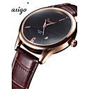 Men's Fashion Watch Chinese Quartz Leather Band Brown