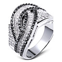 Woven Infinitve Rings Created Cubic Zirconia Paved Setting Black White 2 Tones Gold-Color Mujeres Anillos