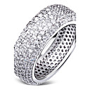 Cubic Zirconia Setting Deluxe Women Party Ring Rhodium or Gold-Color Environmental Friendly Material Lead Free