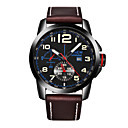 Men's Dress Watch Fashion Watch Quartz Genuine Leather Band Casual Black Brown Khaki