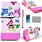 COCO FUN ® Lovely Owl Family Patroon PU Leather Full Body hoesje met Screen Protector, Stand en Stylus voor iPhone 5/5S