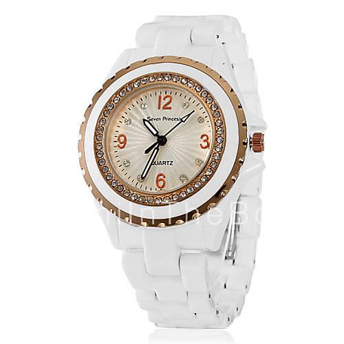 1.99 Модные женские керамические Аналоговые кварцевые наручные часы (белый